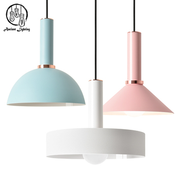 Creative contemporary macaron colorful wrought iron hanging creative contemporary macaron colorful wrought iron hanging pendant light aluminum pendant lamp for dining room mozeypictures Image collections