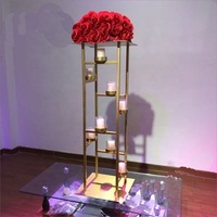 Wholesale Wedding Supplies Metal Centerpiece Gold Iron Flower Stand With Candle holder