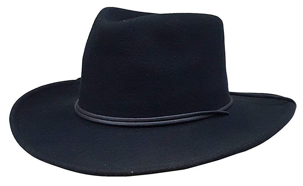 9008f76c673 Get Quotations · Modestone Espagnol Wool Felt Cowboy Hat Black ''Some Sizes  For Small Heads''