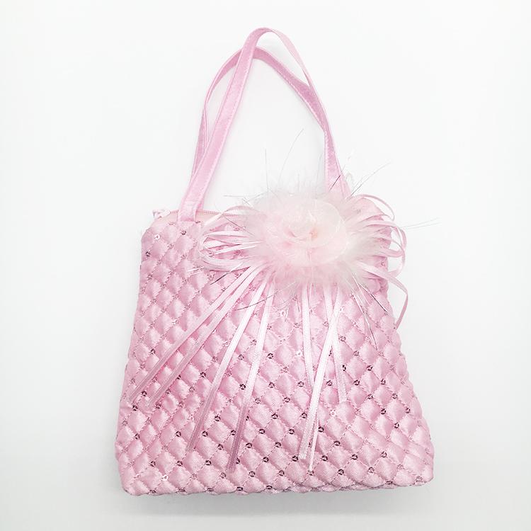 Pink rose flower handbags kids designer quilting sequins satin solt handbags