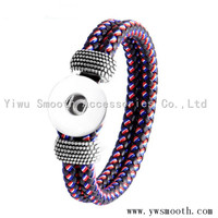 Fashion PU Leather Snap Button Jewelry Accessories Rhinestone Bracelet