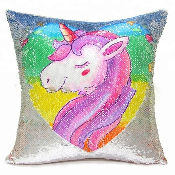 Decorative Home Chair Sofa Reversible Sequin Unicorn Pillow Cushion