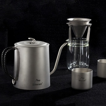 Silverant Titanium Gooseneck Coffee kettle sets with glass cup coffee mug and Percolator
