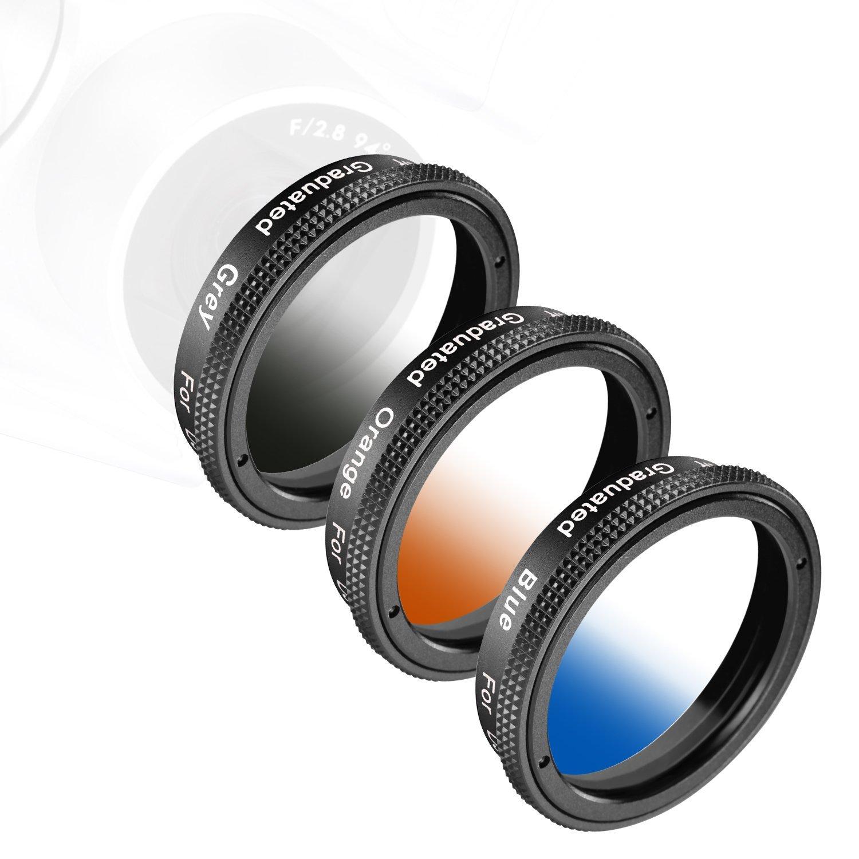 Neewer® for DJI Phantom 4, DJI Phantom 3 Professional and Advanced, and 4K Cameras, Graduated Lens Filter Set 3 Pieces: Graduated Grey Filter, Orange Filter and Blue Filter