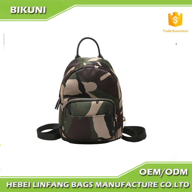 2017Latest Nylon Backpack Ladies camouflage color Travelling Backpack Women