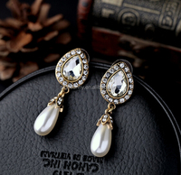 Vintage Drop Pearl Ear Stud Bridesmaid Ear Stud Crystal Gold Elegant Jewelry Wedding Earrings Bronze Crystal Tear drops