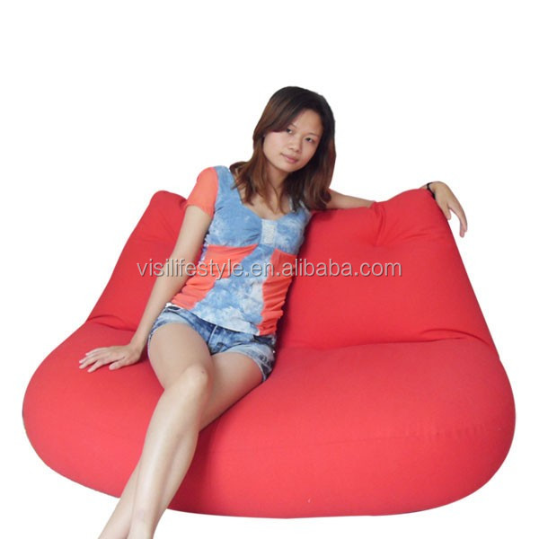 Visi Beanbag Red Lip Shape 2 Seats Beanbag Sofa Lounge Home Furniture Bedroom Decoration Floor Armchair Sleeping Relaxing Bed