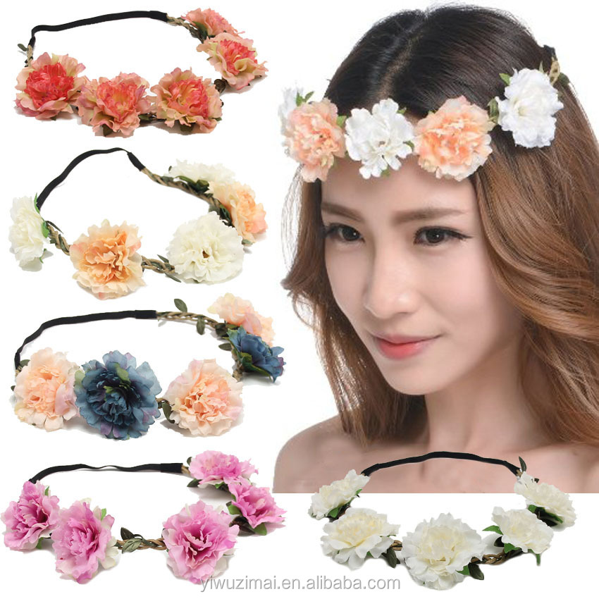 Beautiful Bohemian Style Flowers Elastic Headband Ladies Holiday Beach Headbands Bride Headbands