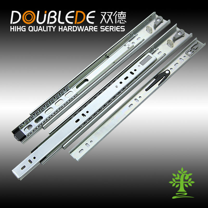Full extension three fold ball bearing steel ball push to open telescopic channel drawer slide