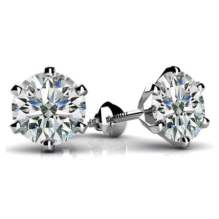 2018 fashion 2carat 8mm DEF moissanite stone beautiful designed back 14k 18k white gold stud weddearrings for girls