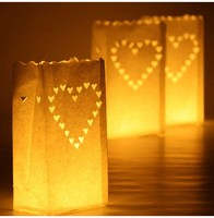 Wedding Heart Tea Light Holder Luminaria Paper Lantern Candle Bag Home Valentines Day Gifts Party Decoration