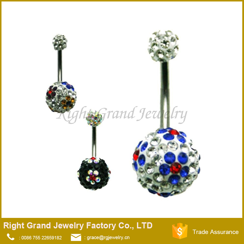 Shamballa Ball 316L Surgical Steel Belly Rings Navel Bar Body Jewellery