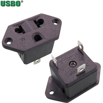 Wholesale US Receptacle Snap-In Mount Socket 15A 125V With 3Pins Solder Terminal