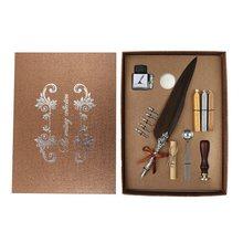 1 комплект, Ретро Винтажные каллиграфические перьевые ручки, милые перьевые шариковые кавайные ручки, плюшевые шариковые ручки для письма, ...(Китай)