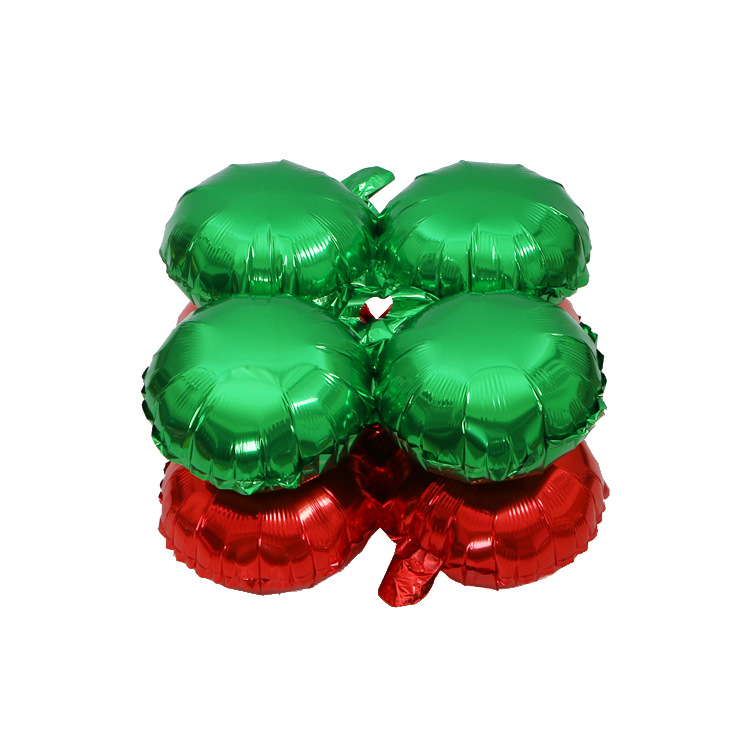 10inch Four Leaf Clover Christmas  Decoration Foil Balloons Green Red Shop Celebration Arched Door Balloons