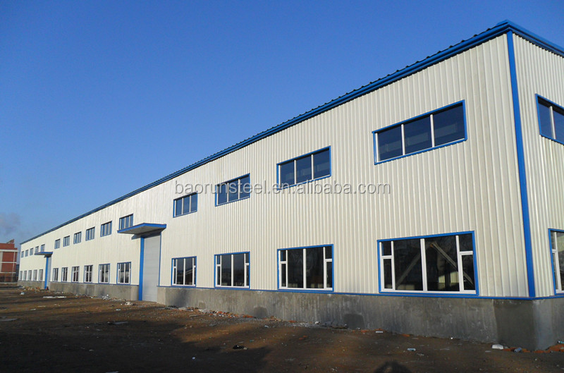 Prefabricated barns/warehouse with sandwich panels and metal roll up windows steel building