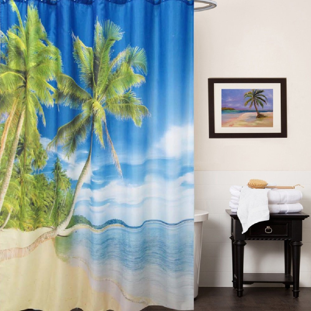 Buy 1 Piece Multi Tropical Themed Shower Curtain, Beautiful Palm ...