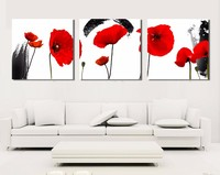 home goods 3 Panels canvas modern art triptych red flower oil painting for wall decoration
