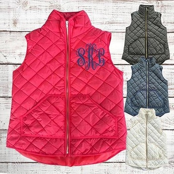3e18148def15 Wholesale Women Monogram Quilted Puffy Vests - Buy Vests