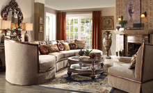 American Country Style Solid Wood Linen Sectional Sofa Set/Antique Home Living Room Furniture (MOQ=1 Set)