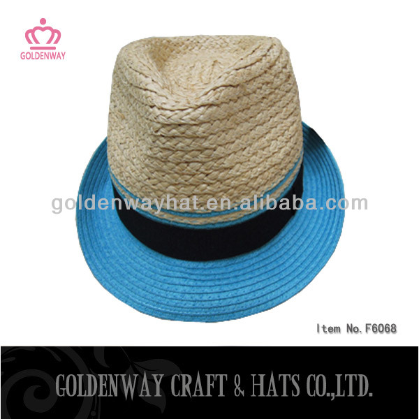2014 Straw Fedora Hats With Raffia and Paper braid
