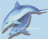Thickness 4mm Dolphin Swimming Glass Mosaic Mural Morif for bathroom and kitchen spa floor mosaic decoration