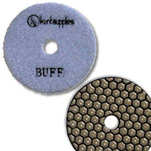 "KENT Premium Quality 4"" DRY, WHITE Buff, 2mm Thick, Diamond Polishing Pad, Velcro Style For Granite Marble Onyx Stone"