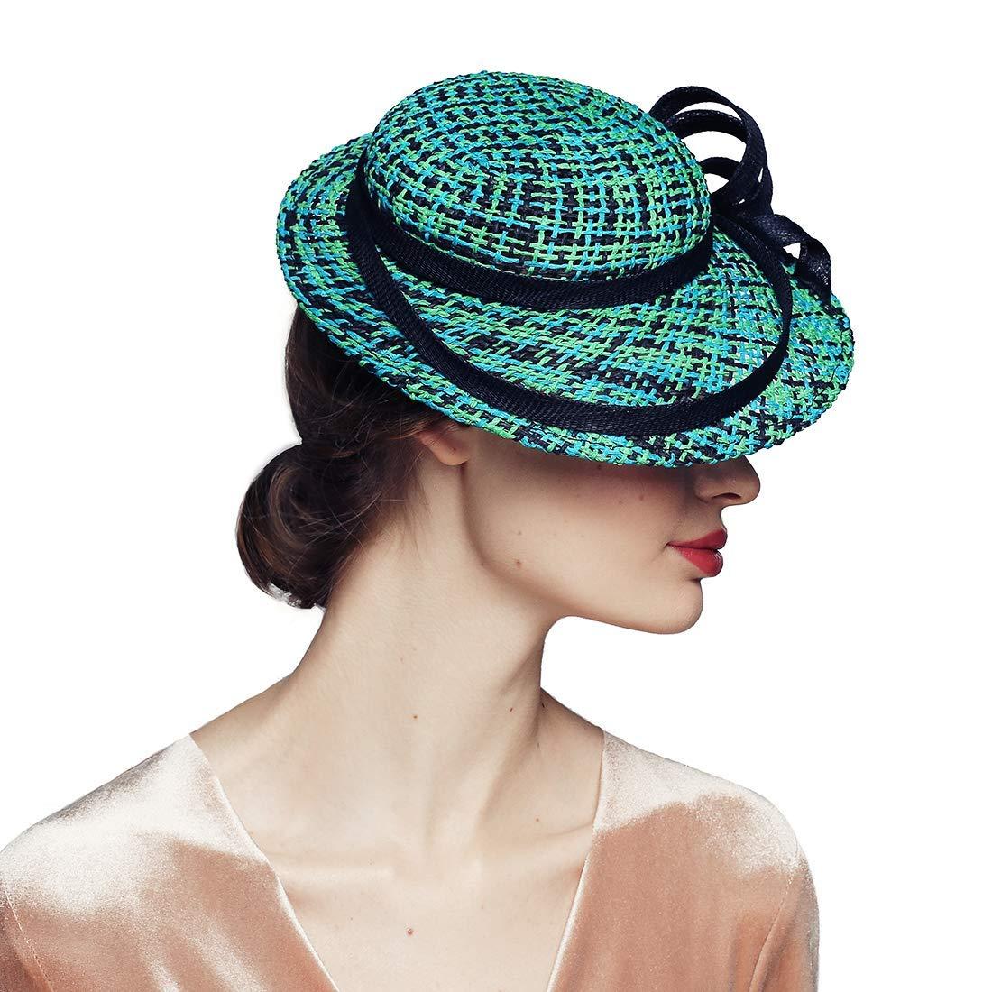 Get Quotations · Green Fascinator Hats for Women Wedding Bridal Church Tea  Party Races Headwear 01316260bf2