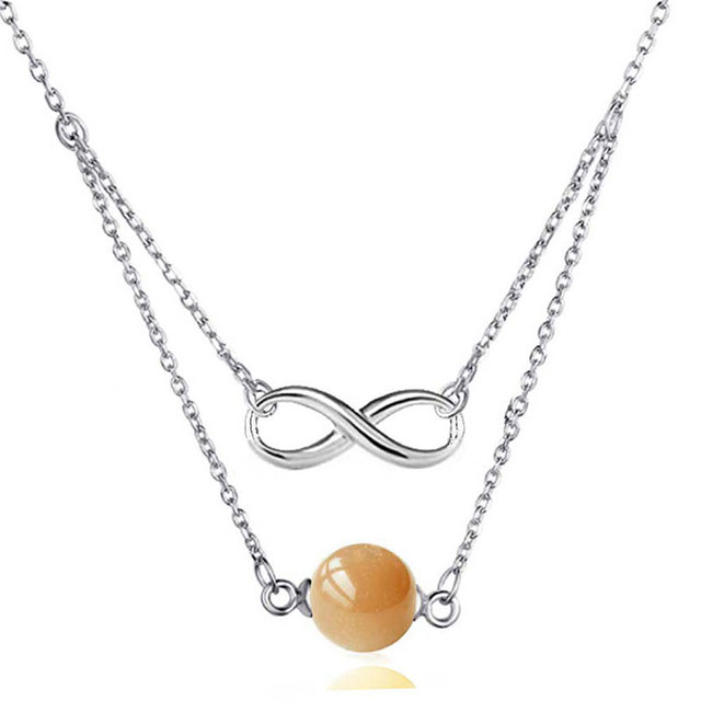 Multilayer Necklace Double Chain Moonstone Pendant Silver ...