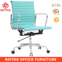 ea117 low back swivel executive leather blue office chair for conference RF-S072J
