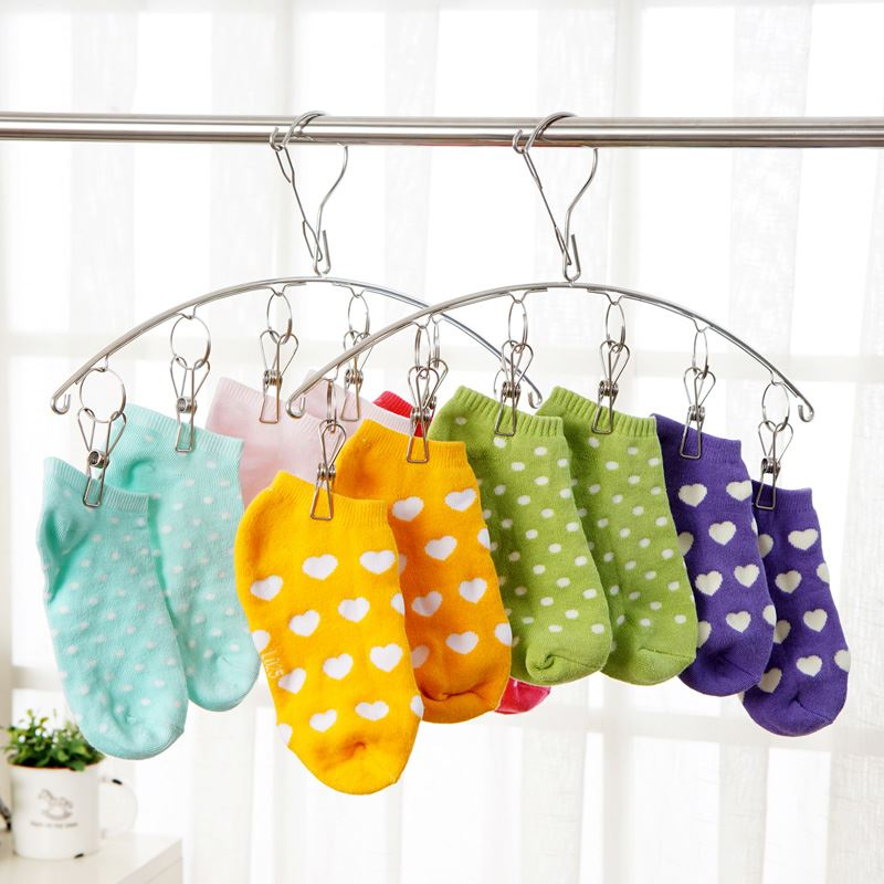 Multifunctional Stainless Steel Clothes Socks Shorts Underwear Drying Rack Hanger Cleaning Tools Laundry Products Hangers Racks