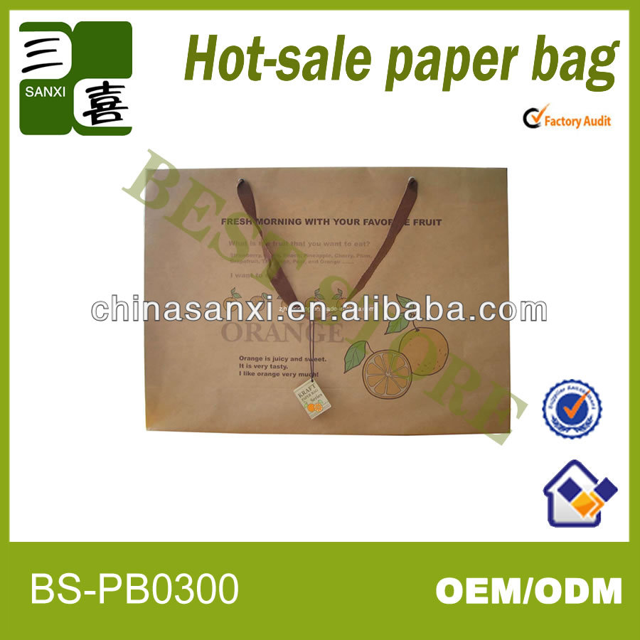 newest style recyclable and cheap kraft paper bag for shopping