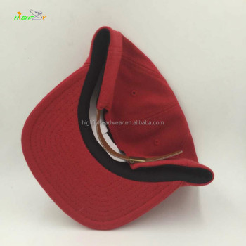 Top Quality Red Color Wool Fabric Blank Street Headwear Polo Unconstructed  Snapback Cap With Real Leather f0390767c1e