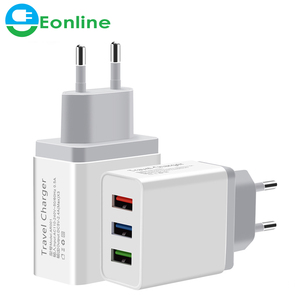Universal 5V 3A 3 USB Travel Charger Adapter Wall Portable EU Plug Mobile Phone Smart Charger for iPhone XS Max X 8 iPad Tablet
