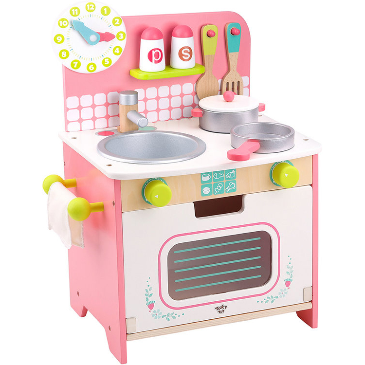 Pretend food cooking play set toy kids wooden kitchen toy
