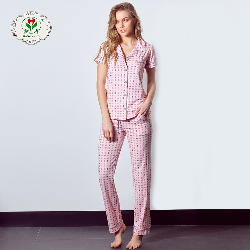 Factory direct sale fashion homewear knitted suit and pants long sleepwear women pajama sets