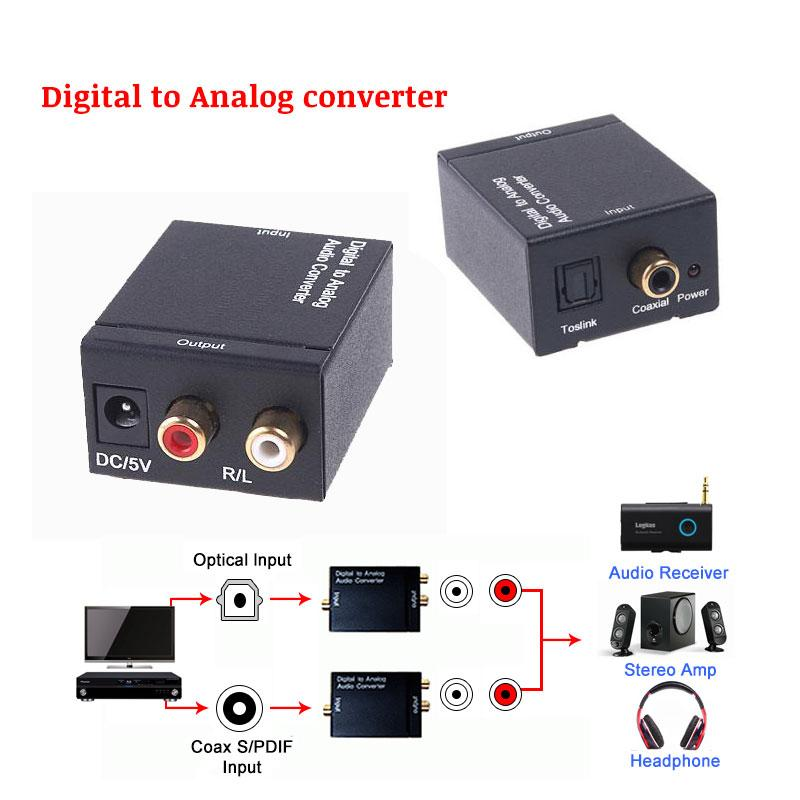 Digital to Analog Audio Converter Optical Coaxial RCA Toslink Digital Audio to L/R Analog Audio converter adapter