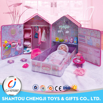 Funny children doll bed set 16 inch electric pee baby doll girl games