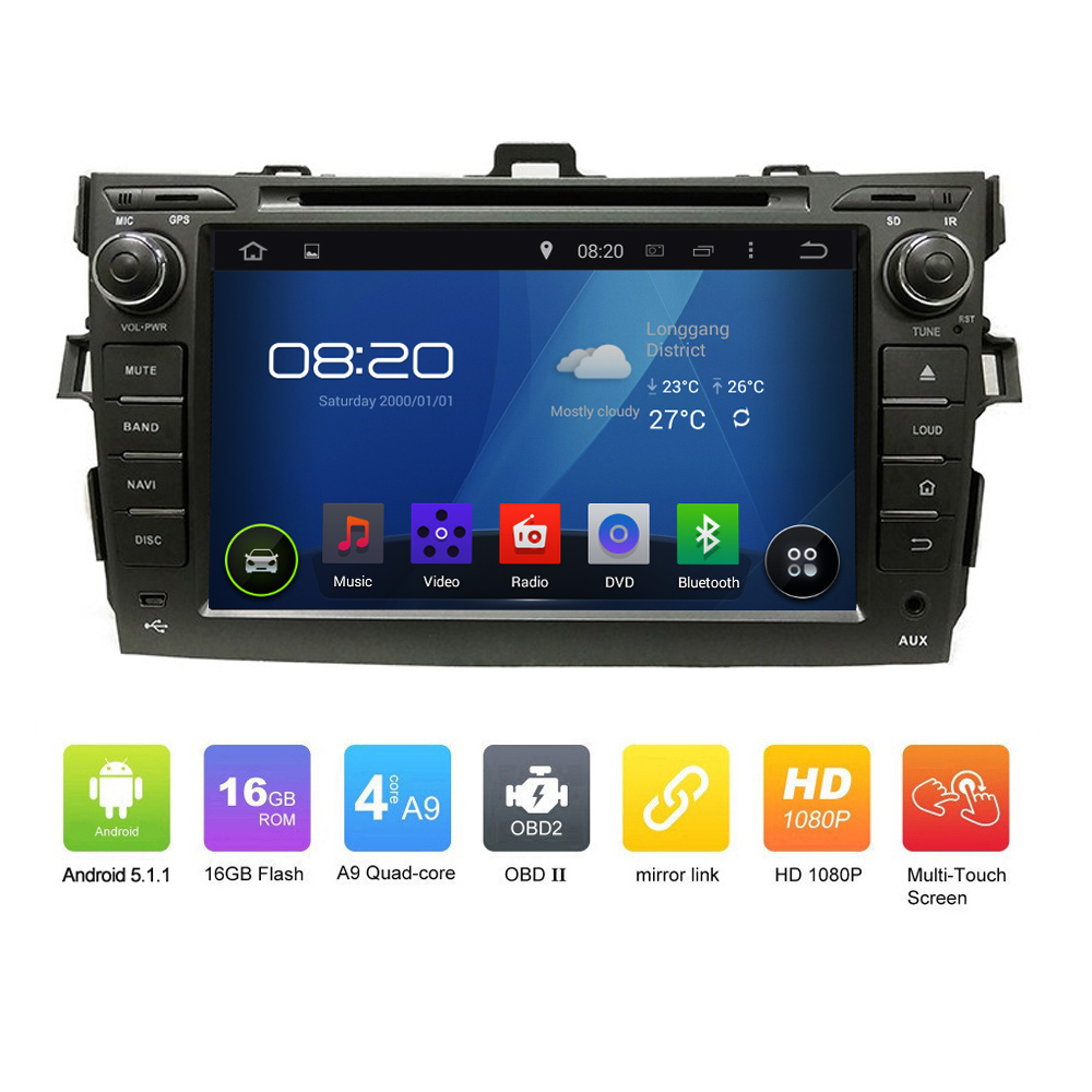 OEM Pure 2DIN ANDROID 5.1.1 CAR DVD GPS for <strong>Toyota</strong> <strong>COROLLA</strong> 2012 Quad Core 1024*600 Touch Screen Car GPS Navgation radio audio