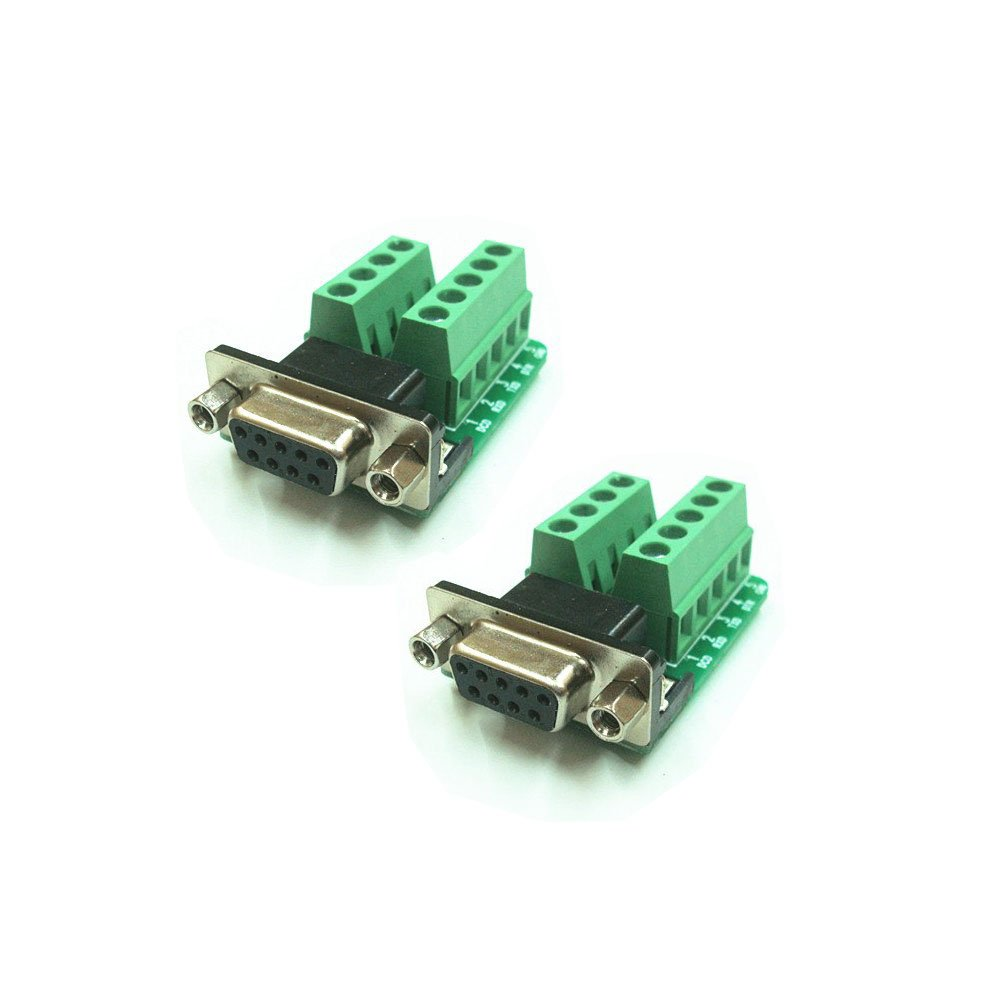 So-myshtech DB9 female Breakout Board to Screw Terminals, Connector Db9 female Plug 9-pin Port 1 Row Terminal Breakout PCB Board(Pack of 2)