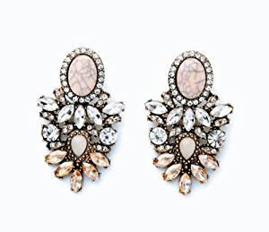 Elegant Fashion Party Luxury Rhinestone Leaf Flower Stripe Resin Oval Alloy Stud Earring