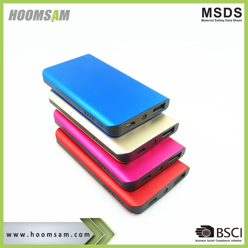 BSCI super slim aluminum powerbankhongshanjie LED Torch power bank 4000mah