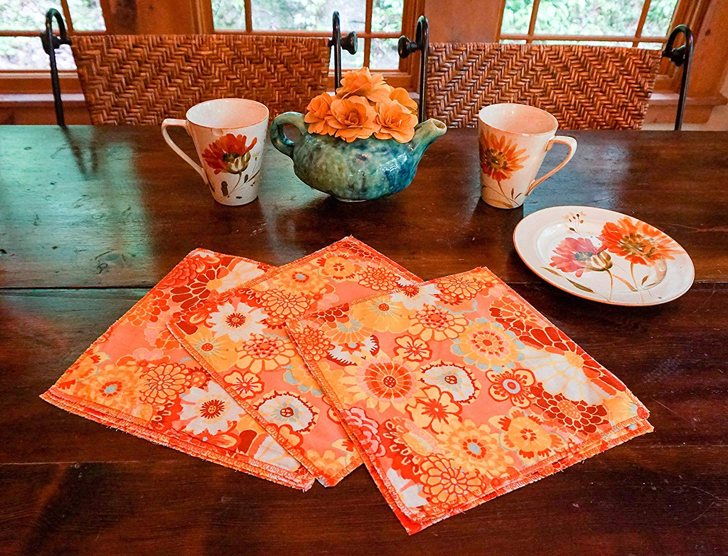 Cloth Napkins-Summer Table Decor-Flower Napkins-Boho Table Decor-Shabby Chic Table-Yellow Napkins-Party Decor-Cottage Decor-Home Decor Gift