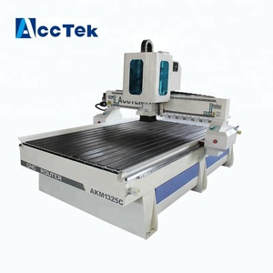 AccTek 1325 automatic tool changer ATC cnc woodworking router, linear atc cnc router, HSD Spindle wood door