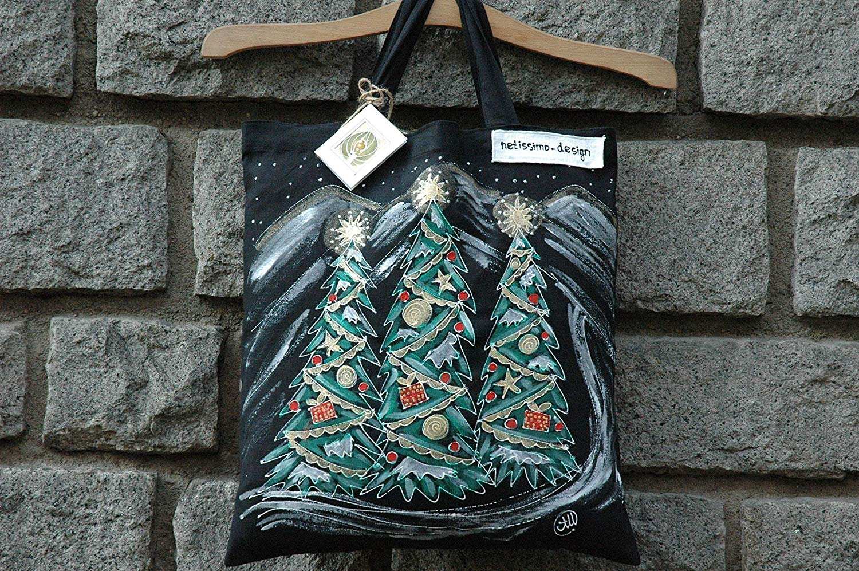 Sale!!!15% Off,Christmas gift Mom,Hand Painted Canvas Bag,Christmas Tote Bag,Christmas Shopping Bag,Cotton tote bag,Christmas Gifts Bags,Birthday gift Bag,Black Bag,Woman Gifts,Christmas Pine Tree.