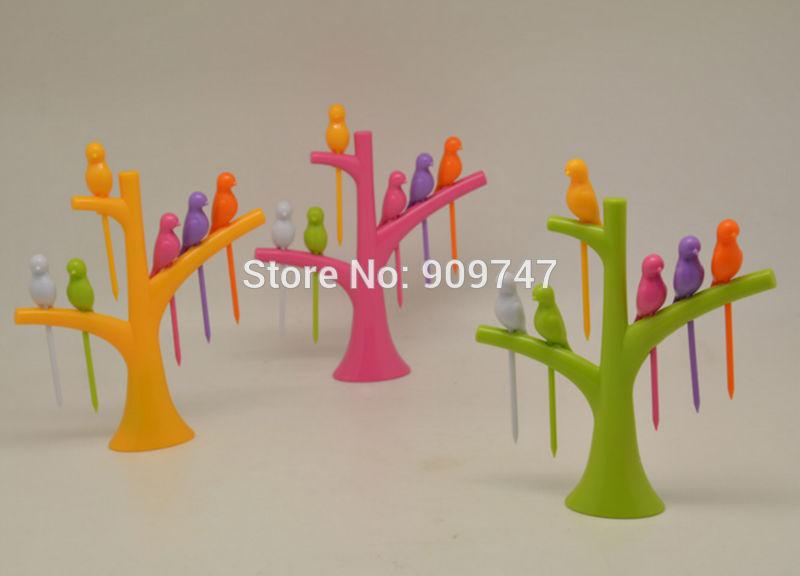 New Arrival design plastic fruit fork + birds fork cutlery ...