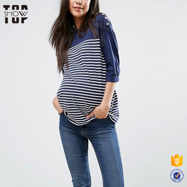 China factory stripe 3/4 t-shirt wholesale maternity for women wear clothes