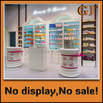 dispensary retail store wall unit drugstore round glass display cabinet pharmacy round glass display case