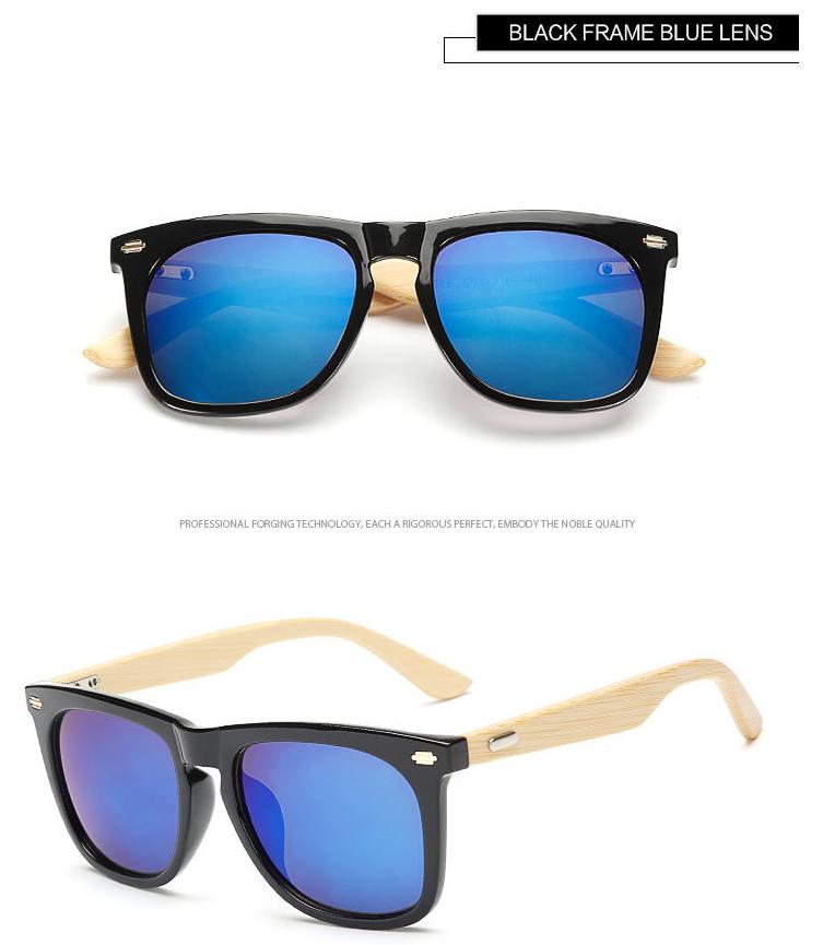 Plastic Frame Wood Arm Custom Logo Handmade Bamboo Sunglasses