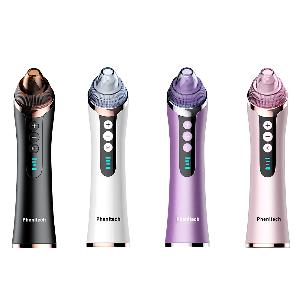 Phenitech 2019 Blackhead vacuum Pore Cleaner with 3 <strong>color</strong> led light multifunctional Comedo Suction Extractor Blackhead <strong>Remover</strong>